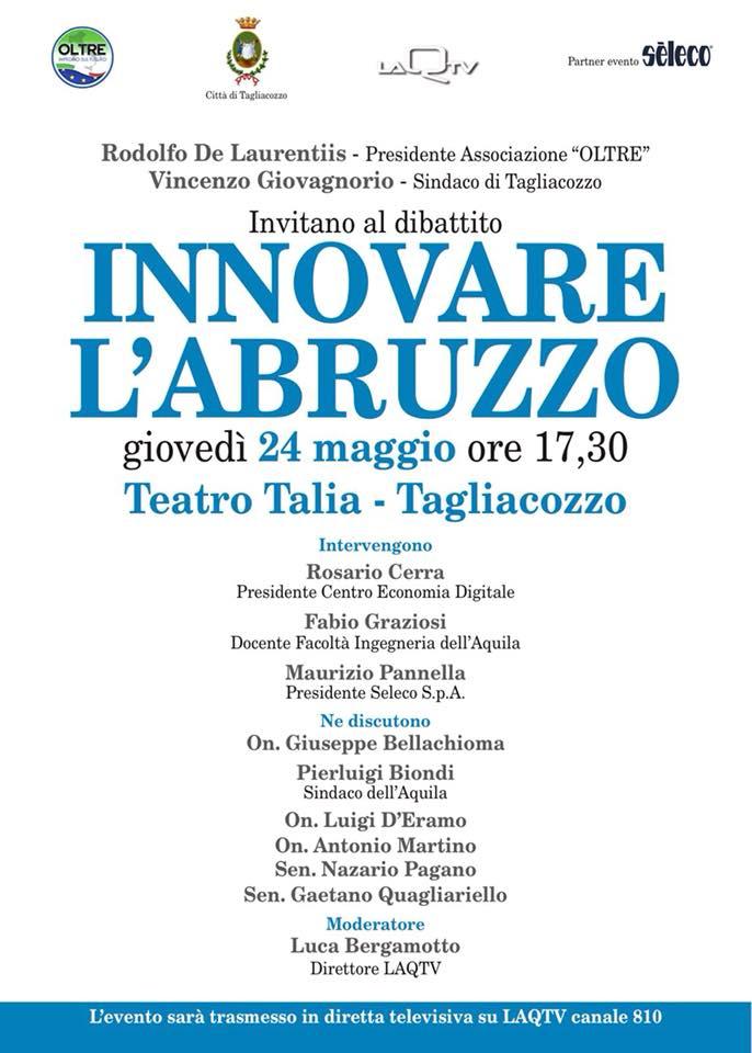 """""""Innovare l'Abruzzo"""", incontro-dibattito al Teatro Talia"""