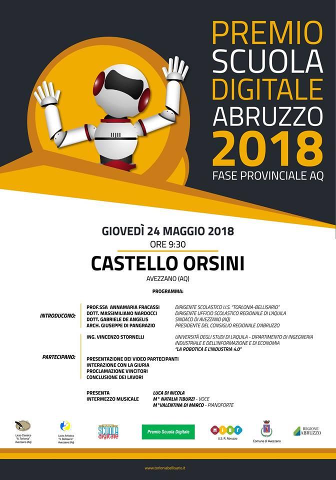 Premio Scuola Digitale Abruzzo 2018: domani l'appuntamento al Castello Orsini