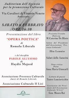 """Presentazione del libro """"Opera poetica"""" di Romolo Liberale"""