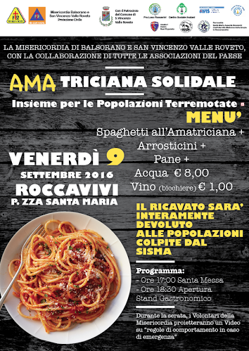"""""""Amatriciana Solidale"""": anche a Roccavivi l'iniziativa per le popolazioni colpite dal sisma"""