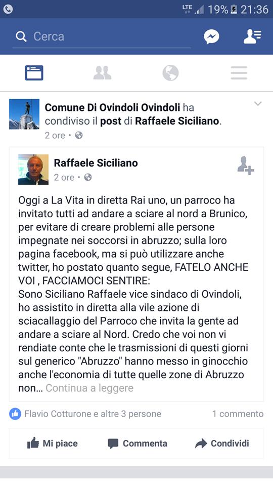 """Parroco invita ad andare a sciare al nord, il vice sindaco di Ovindoli: """"Vergogna"""""""