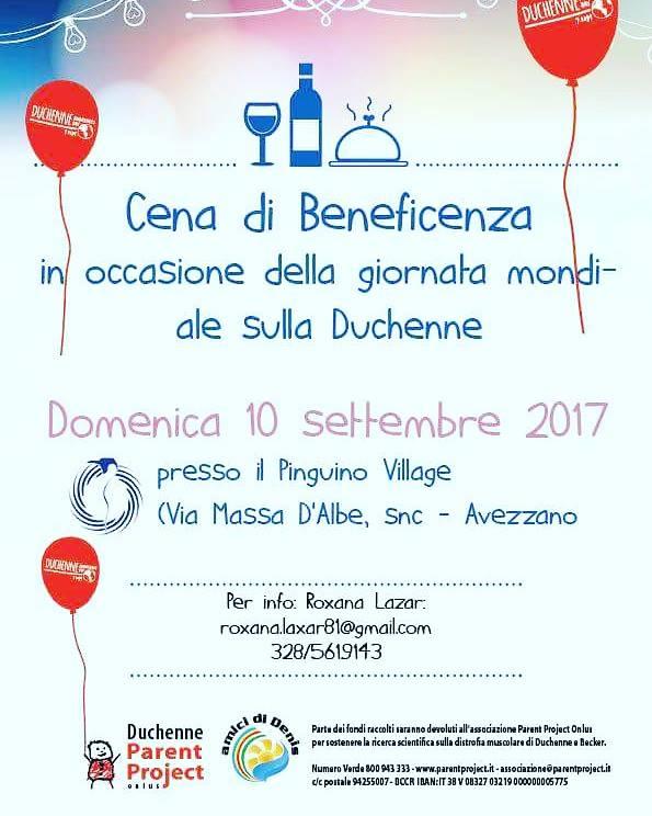 Giornata mondiale sulla distrofia di Duchenne, cena di beneficenza al Pinguino Village