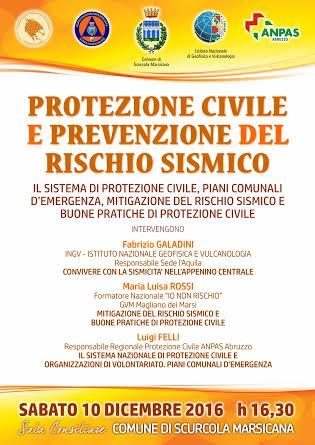 """""""Protezione civile e prevenzione del rischio sismico"""", incontro a Scurcola Marsicana"""