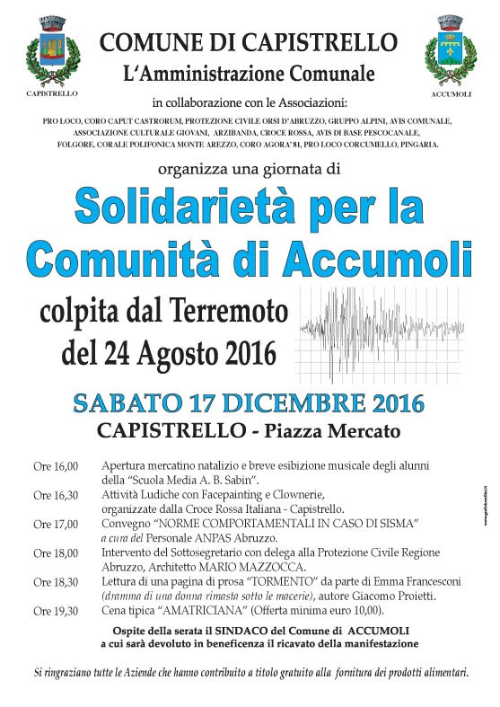 Capistrello vicino ad Accumoli, giornata di solidarietà per la comunità colpita dal sisma