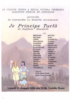"""La classe 3A della Primaria """"Agostino Persia"""" porta in scena """"Je principe Turlo"""" al Castello Orsini"""