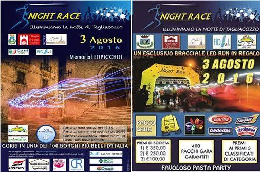 """Tutto pronto per la seconda edizione della gara podistica """"Tagliacozzo Night Race – 2° Memorial Topicchio"""""""