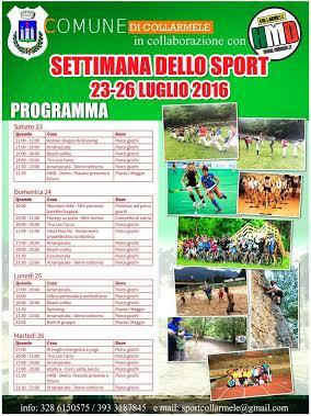 """Prima edizione della """"Settimana dello sport"""" a Collarmele"""