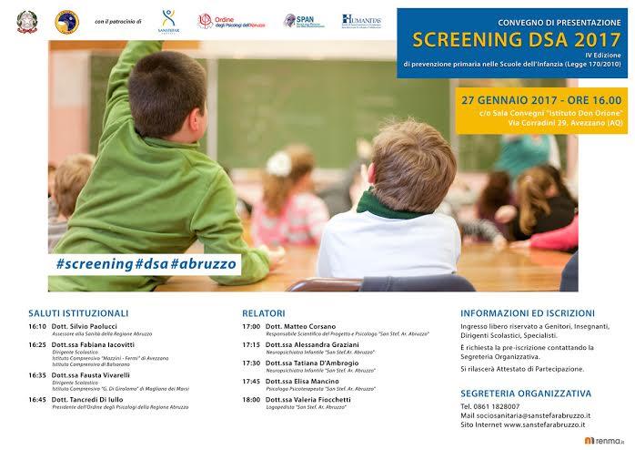 Avezzano, convegno di presentazione degli screening DSA 2017