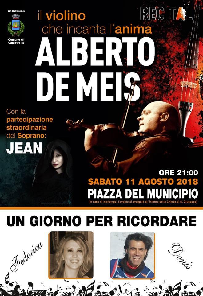 """""""Un giorno per ricordare"""" Federica e Denis, il violinista Alberto De Meis in concerto a Capistrello"""