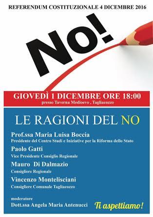Fronte del NO mobilitato a Tagliacozzo, giovedì convegno trasversale con Montelisciani