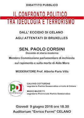 """""""Il confronto politico tra ideologia e terrorismo"""", dibattito pubblico a Celano"""