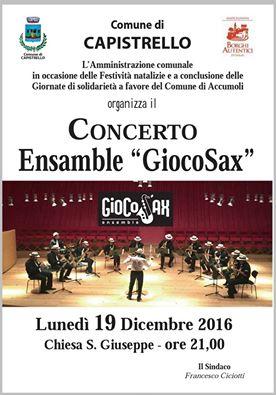 Concerto di Natale a suon di sax a Capistrello