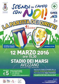 """La Nazionale Italiana di Calcio Attori ad Avezzano per """"La partita dei diritti"""""""