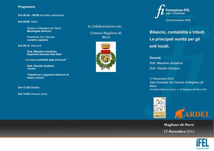 Incontro formativo su bilancio, contabilità e tributi a Magliano de' Marsi