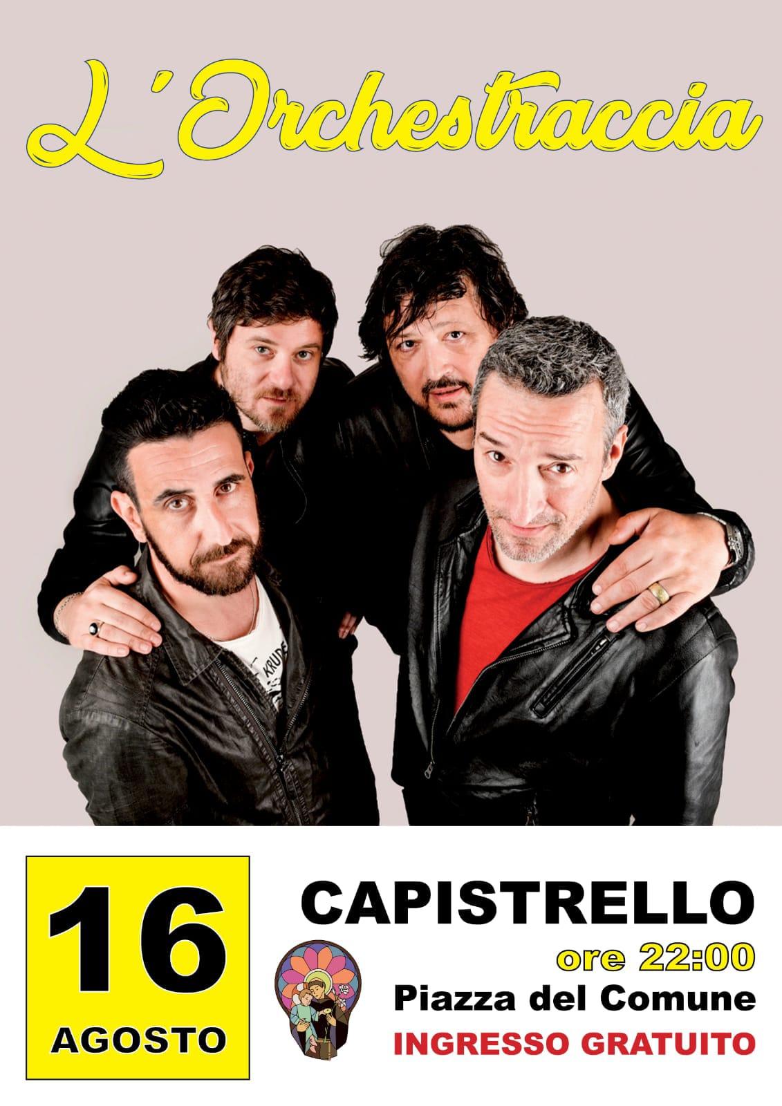 Musica e divertimento a Capistrello con l'Orchestraccia, la band romana che porta allegria sui palchi di tutta Italia