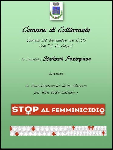 Stefania Pezzopane a Collarmele per discutere di femminicidio