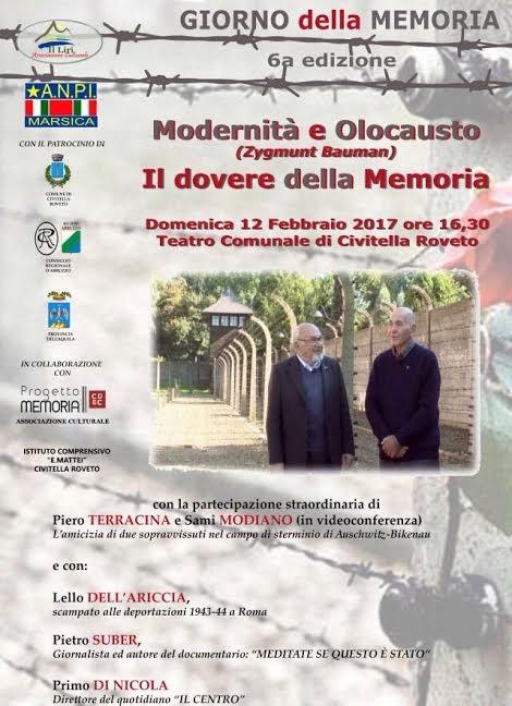"""Civitella Roveto, due sopravvissuti ad Auschwitz protagonisti de """"Il dovere della Memoria"""""""