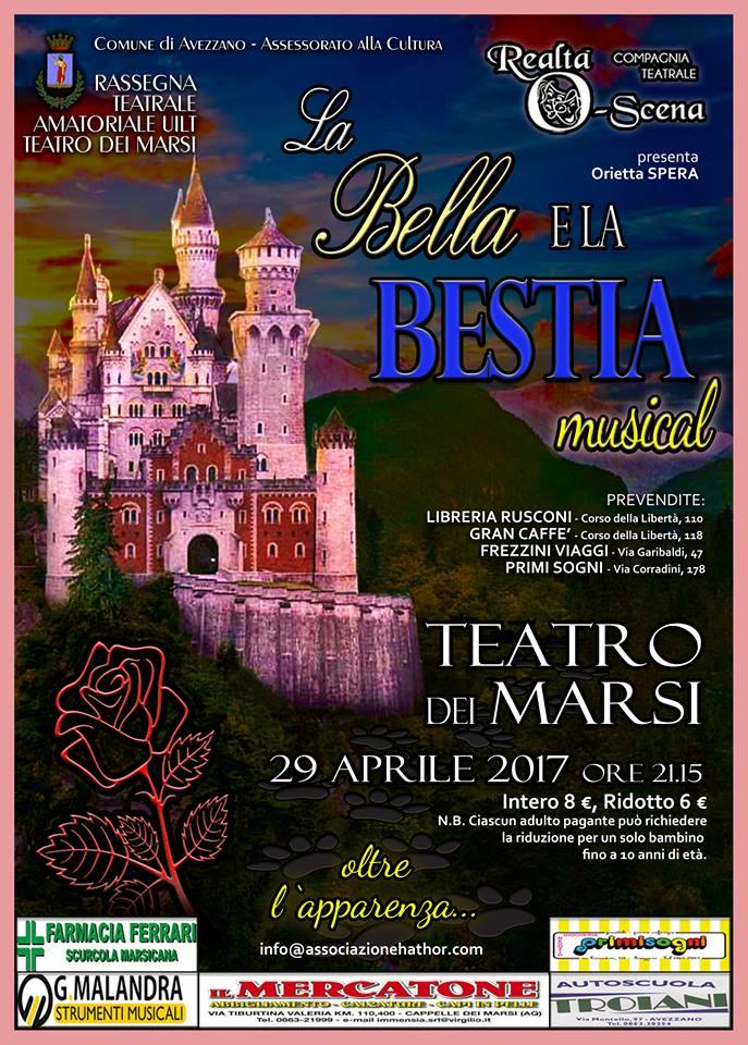 """Appuntamento questa sera al Teatro dei Marsi con """"La Bella e la Bestia"""""""