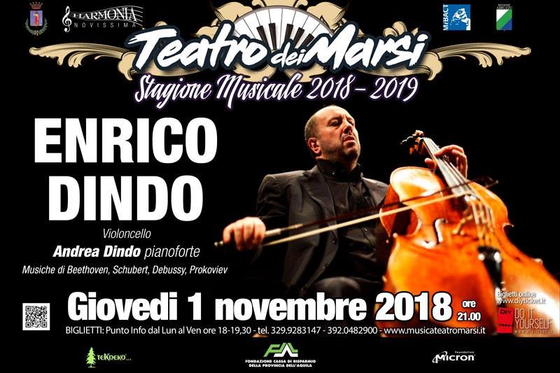 Enrico Dindo, il violoncellista italiano più applaudito sulla scena internazionale, al Teatro dei Marsi