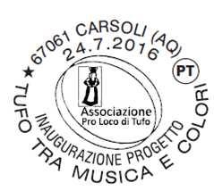 """Carsoli: annullo filatelico per la manifestazione """"Tufo tra musica e colori"""""""