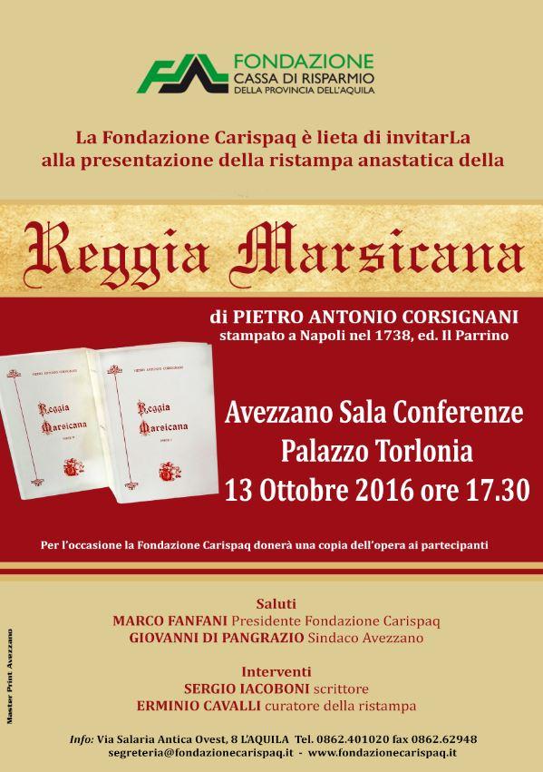 """Ristampa anastatica della """"Reggia Marsicana"""" di Pietro Antonio Corsignani"""
