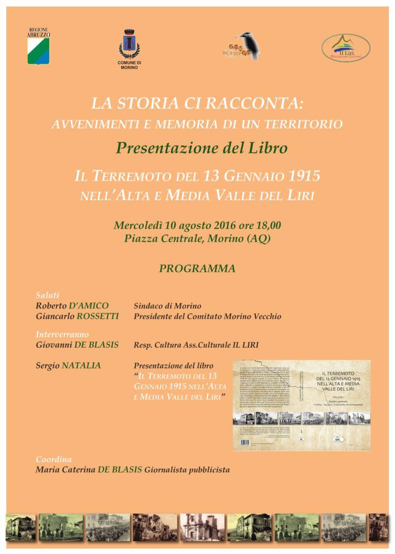 Presentazione del volume il terremoto del 13 gennaio 1915 nell'Ata e Media Valle del Liri