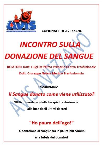 Avis Avezzano, il 10 dicembre un convegno sulla terapia trasfusionale