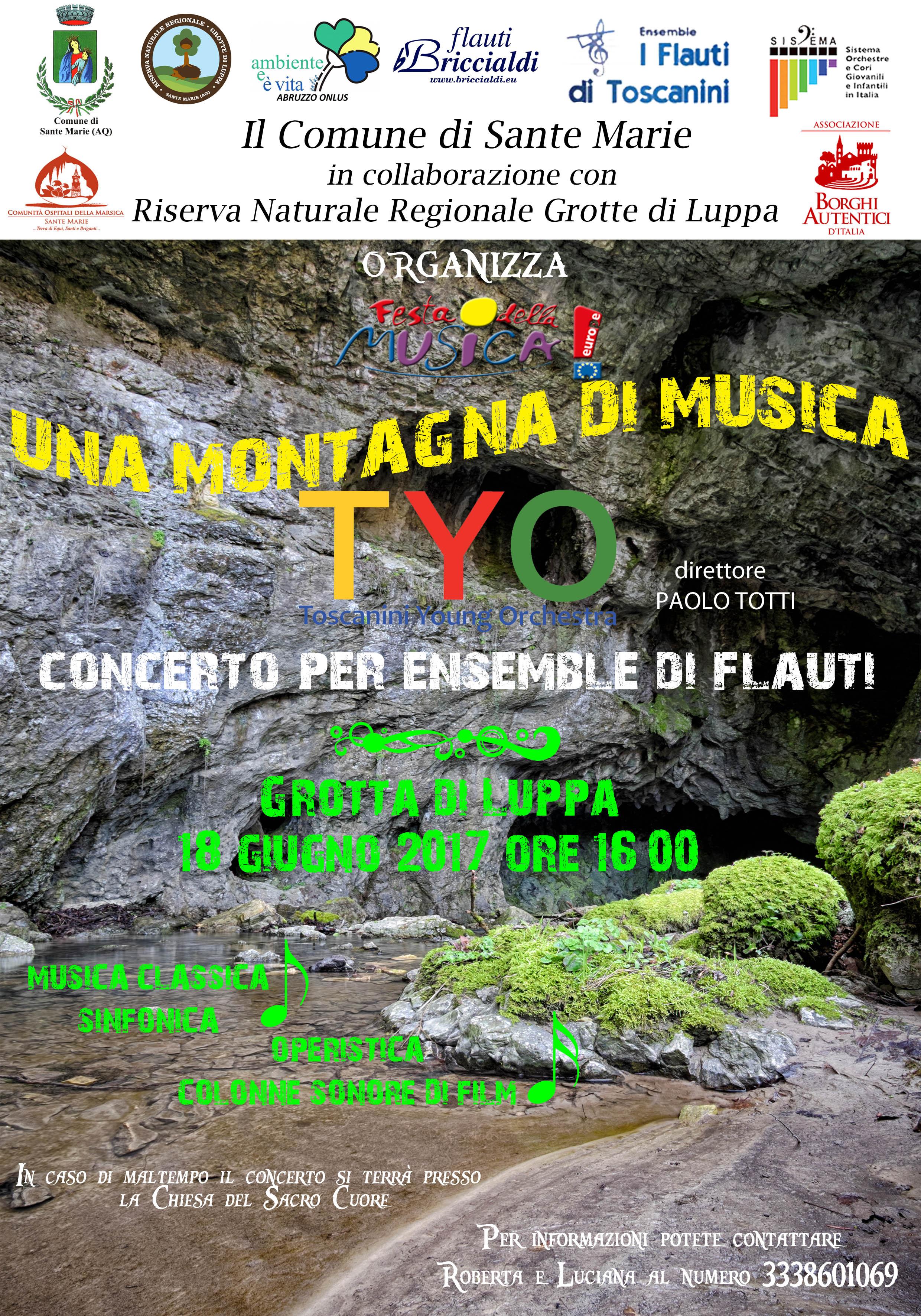 """Domenica 18 Giugno """"Giornata Europea della Musica"""" nella Riserva Regionale """"Grotta di Luppa"""" di Sante Marie"""