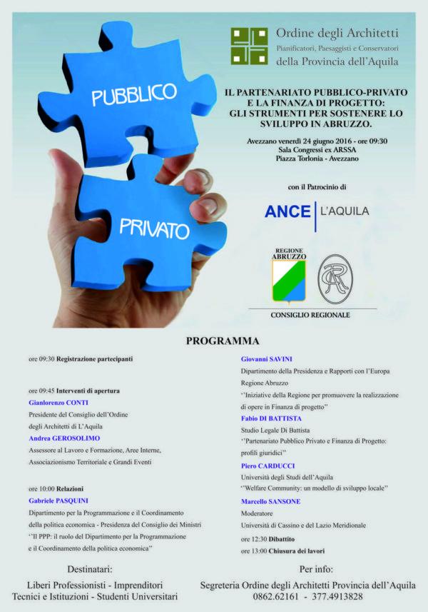 """""""Il Partenariato Pubblico Privato e la Finanza di Progetto"""": convegno ad Avezzano"""
