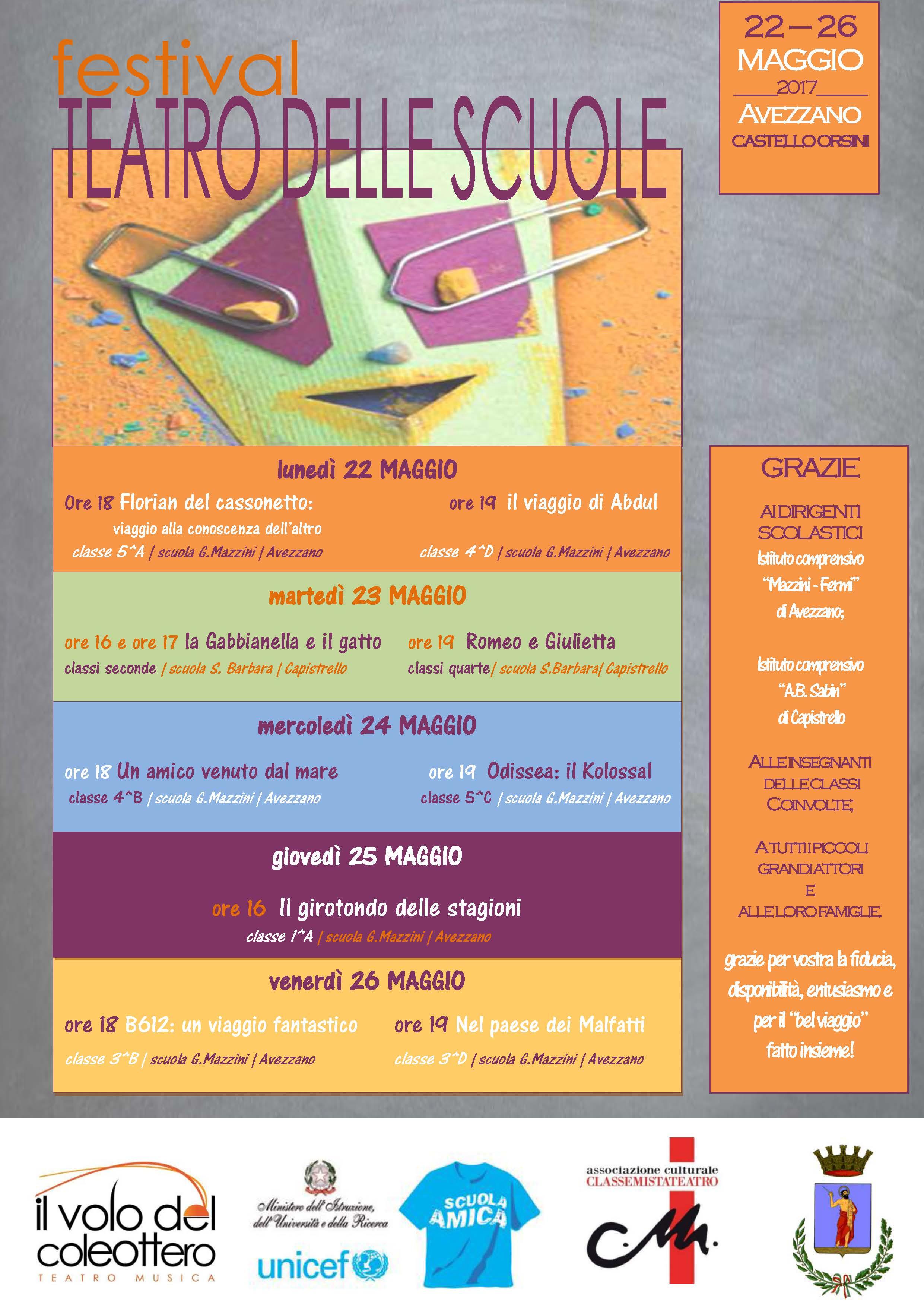 """Il """"Festival Teatro delle Scuole"""" al Castello Orsini di Avezzano"""