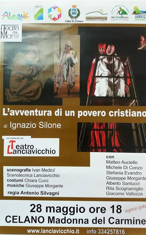 """Celano, domenica a teatro con """"L'avventura di un povero cristiano"""""""
