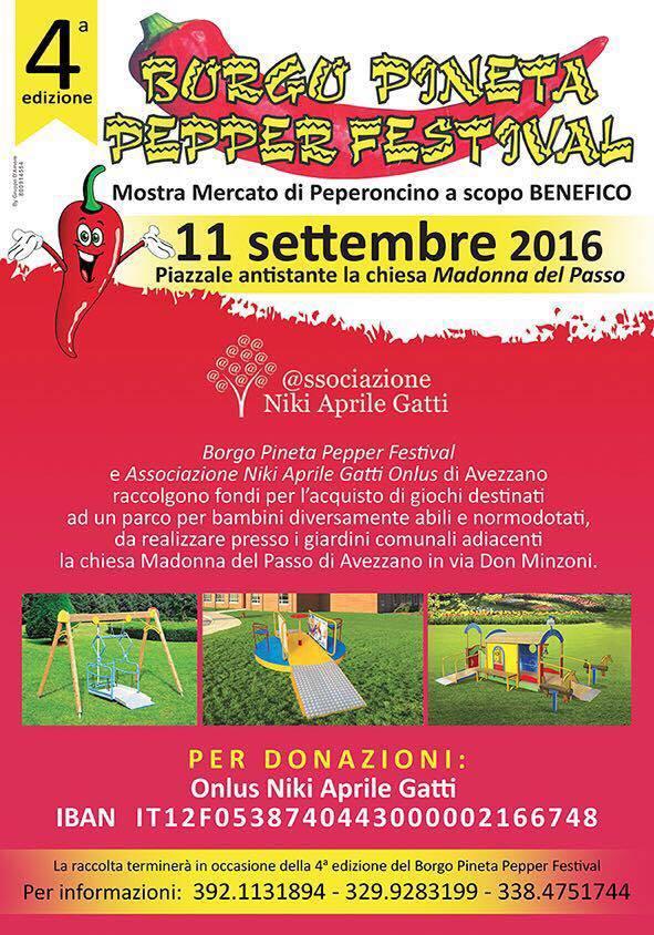 Al via il Borgo Pineta Pepper Festival, beneficenza per un parco giochi per disabili