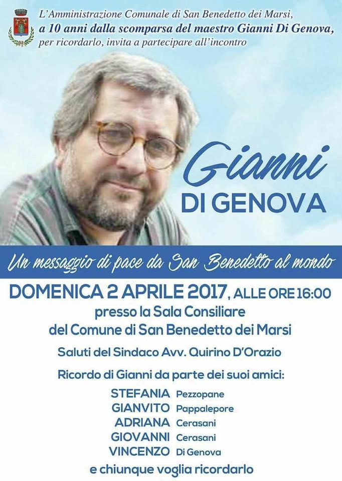 """""""Un messaggio di pace da San Benedetto al mondo"""", l'incontro per ricordare il maestro Gianni Di Genova"""