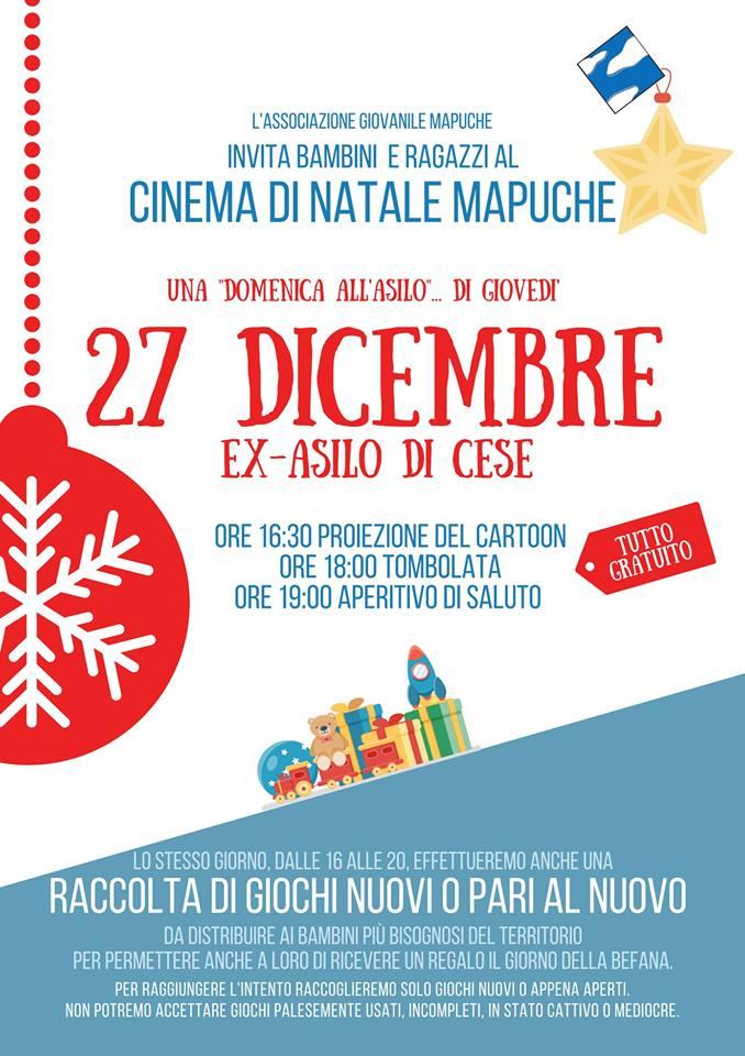 """A Cese """"Cinema di Natale Mapuche"""" una giornata dedicata alla solidarietà ed al divertimento con i più piccoli"""