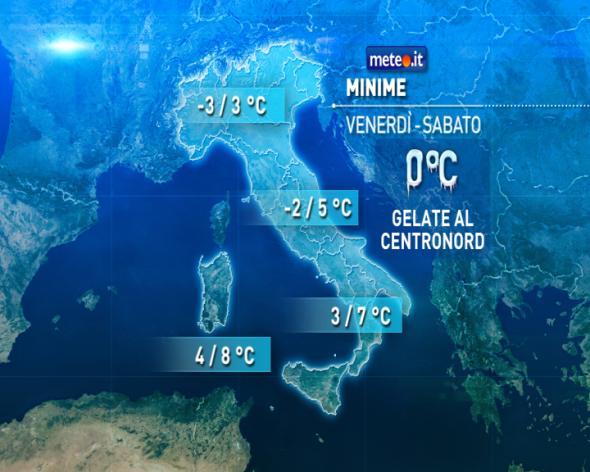 Da venerdì torna il freddo invernale, gelate al Centronord
