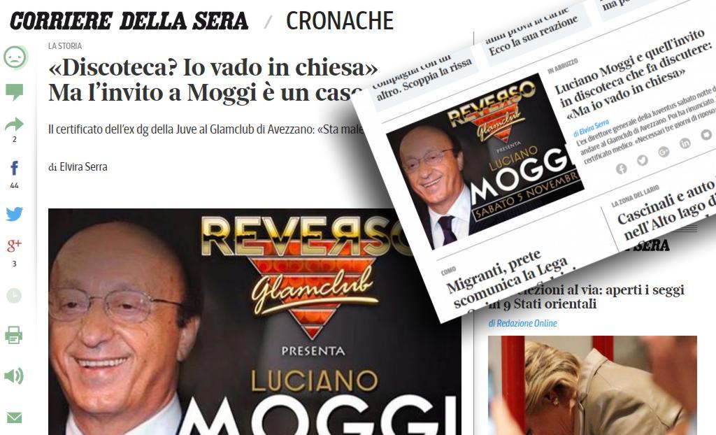 """L'ospitata di Moggi al Reverso finisce in un'inchiesta del Corriere della Sera. L'ex dg della Juve: """"Io in discoteca? Io vado in chiesa"""""""