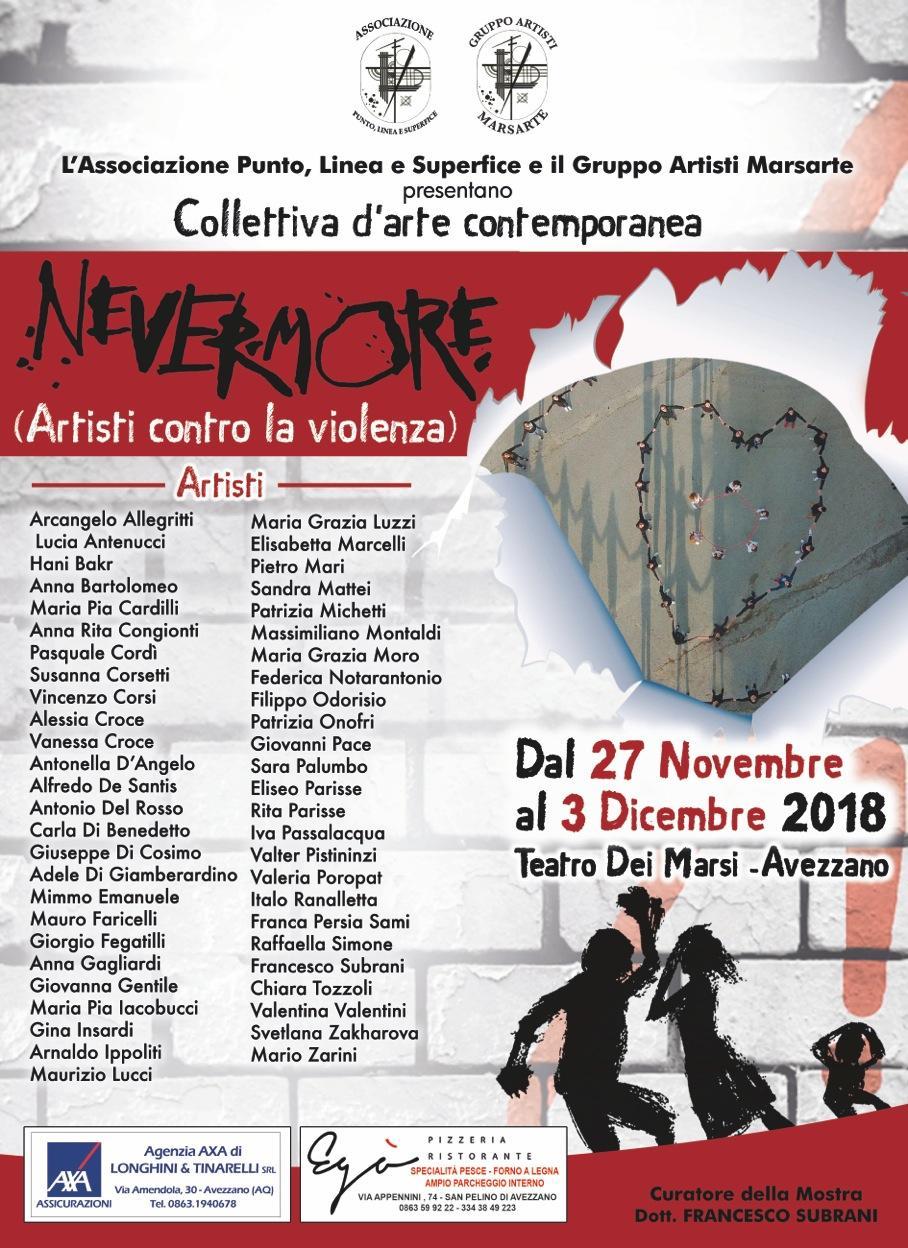 """""""Nevermore - Artisti contro la violenza"""", mostra d'arte contemporanea ad Avezzano"""