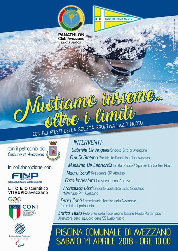 """""""Nuotiamo insieme... oltre i limiti"""", grande evento di sport sabato alla piscina comunale di Avezzano"""