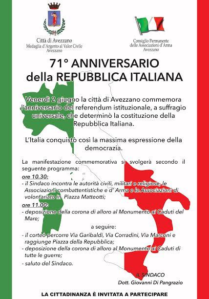 71esima Festa della Repubblica, il programma della manifestazione ad Avezzano