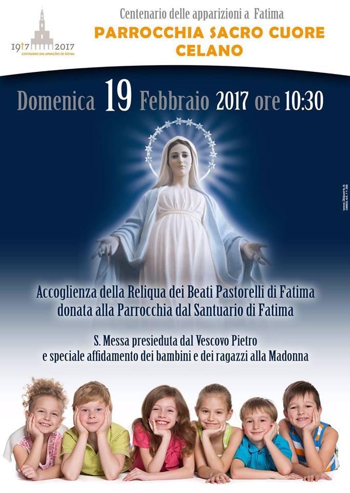 Il Santuario di Fatima dona al Sacro Cuore di Celano la Reliquia dei Beati Pastorelli
