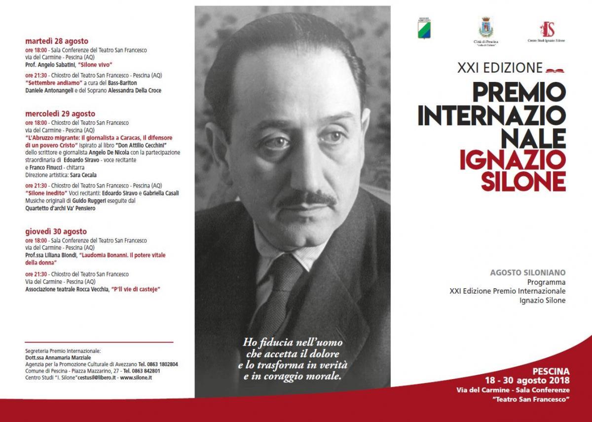 Presentazione della XXI edizione del Premio Internazionale Ignazio Silone