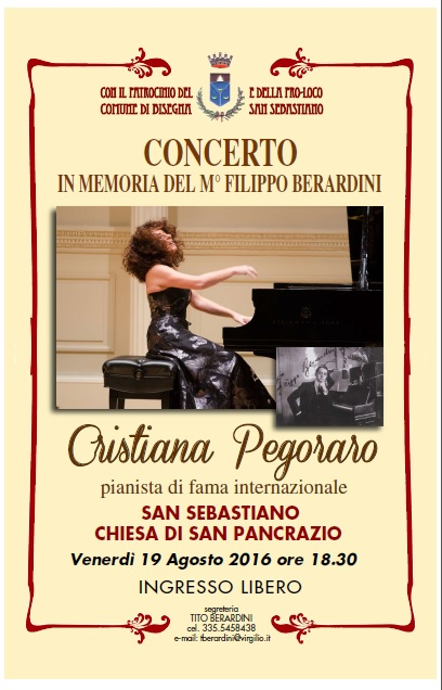 La pianista Cristiana Pegoraro di scena a San Sebastiano dei Marsi