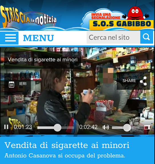 Vendita di sigarette ai minori e ai bambini, le telecamere di Striscia la notizia arrivano a Celano