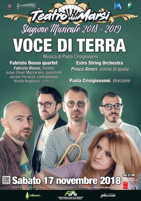 """Stasera """"Voce di Terra"""" al Teatro dei Marsi"""