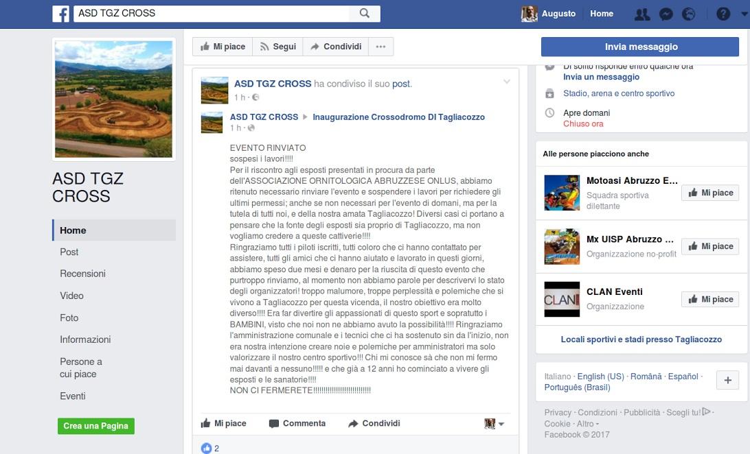 Crossodromo di Tagliacozzo, l'Associazione TGZ Cross annuncia rinvio inaugurazione e sospensione lavori