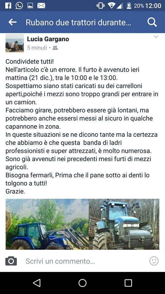 Villa San Sebastiano, ancora un furto di trattori