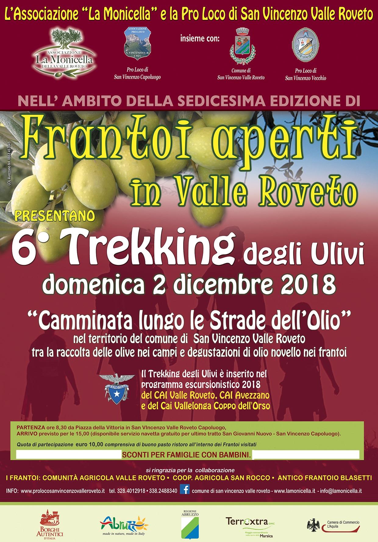 Frantoi Aperti in Valle Roveto, con il 6° Trekking degli Ulivi.
