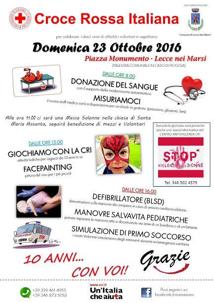 """""""10 anni con voi"""": appuntamento con la Croce Rossa a Lecce nei Marsi"""