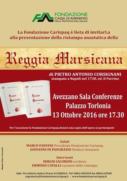 """La Fondazione Carispaq presenta la """"Reggia Marsicana"""" di Pietro Antonio Corsignani"""