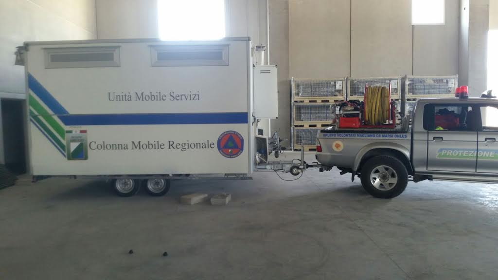 Gruppo Volontari Magliano: allestimento del campo di prima accoglienza ad Accumoli
